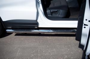 VolksWagen Tiguan 2011 Track andField  Пороги труба d76 с накладками (вариант 2) VGT-0004942